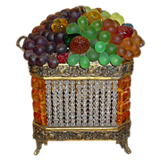 "Czech Glass Fruit Double Handle Lamp "" Rarest Amber and Crystal Basket"""