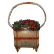 "Spectacular Czech Glass Fruit Basket  ""RAREST SHAPE"""