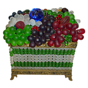 Grandest Czech Glass Beaded Fruit Lamp