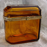 SALE Antique Amber Dome Top Hinged Box