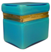 Antique Blue Opaline Casket Hinged Box