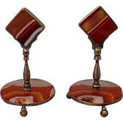 "SALE Pair Antique Agate Place Card Holders  ""Menu Holder"""
