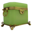 Spectacular Antique French Green  Opaline Double Handle Casket Hinged Box
