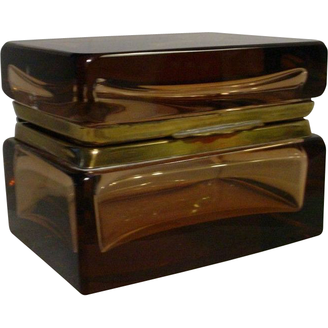 Art Deco Murano Amber Hinged Box