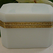 Beautiful Antique French White Opaline Casket.