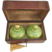 Grandest Antique French Scent Casket &quot;Awesome BIG Green Opaline Scents Bottles&quot;