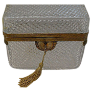 SALE Big Antique French Cut Crystal Casket