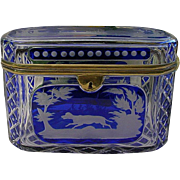 SALE Grandest Antique Bohemian Cobalt Cut to Clear Casket
