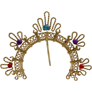 1950 Tiny Jeweled Bronze Filigree Halo