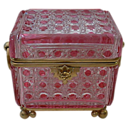 SALE Grandest Antique Baccarat Cranberry  Crystal Casket