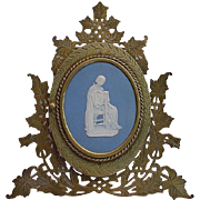 Very Fine  Rare Bronze Blue Jasperware Easel Back Frame