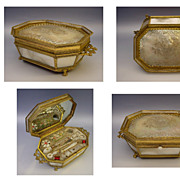 Antique French Palais Royal Mother of Pearl Sewing Box  &quot;PANSY&quot;