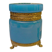 Magnificent Antique French Blue Opaline Casket Hinged Box  &quot; PAW FEET&quot;