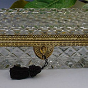 SALE Glorious Antique French Cut Crystal Glove Box