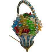 1920 Czech Glass Fruit Basket Lamp &quot;Turquoise and Crystal Basket with Handle&quot;