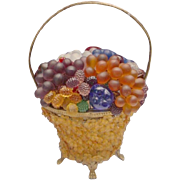 "SALE 1920 Czech Glass Fruit and Glass Flowers Basket Lamp ""Glass Flower Basket:"""