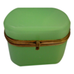 Antique French Green Opaline Hinged Box &quot;OVAL&quot;