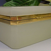 Beautiful Antique French White Opaline Casket Hinged Box