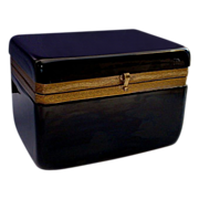 SALE Antique French Black Opaline Hinged Box Casket