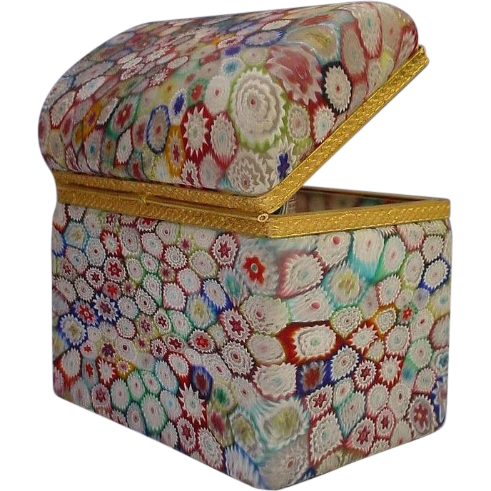 Fabulous Millefiori  Dome Top Casket Hinged Box