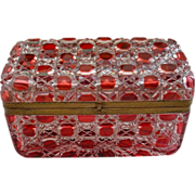 8&quot; Glorious  Antique  Baccarat  Red Cut to Clear Casket Hinged Box &quot; BIG&quot;