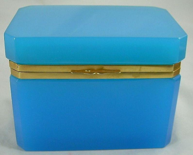 "Very Fine Antique Blue Opaline Casket  ""Large"""