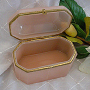 Fabulous Antique French Pink Opaline Casket  &quot;BIG Unique Shape&quot;
