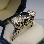 Exquisite Antique 18 Karat White Gold Filigree Diamond and Sapphire  Ring