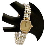 Magnificent Estate Vintage 14 Karat Pearl and Diamond Watch