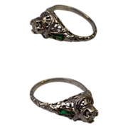 Beautiful Antique 18K White Gold Diamond and Emerald Filigree Ring