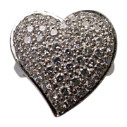"Estate 14Karat White Gold Large Pave Diamond Ring  ""HEART SHAPE"""