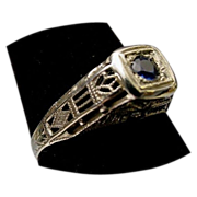 Beautiful 18Karat  Sapphire and Filigree Ring. Circa 1900