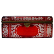 "SALE Antique Bohemian Ruby Spa Glove Box    ""  GIANT 9 �""  """