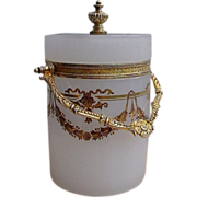 Magnificent  French White Round Opaline with Beautiful Gilt Handle Box