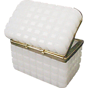 Exquisite Antique French White Opaline �Waffle Cut� Casket Hinged Box