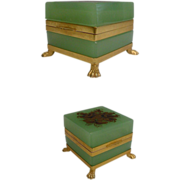 "SALE Antique French Green Opaline Casket ""Paw Feet"""