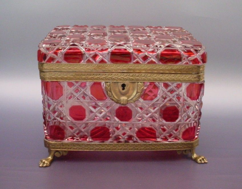 "Grandest Antique Baccarat Red Cut to Clear Casket ""Paw Feet"""