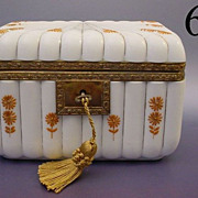 Gorgeous Antique French Opaline Casket Hinged Box
