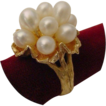 "Vintage Heavy 14 Karat Yellow Gold Ring  Pearl  Ring  ""  Bark Finish Flower"""