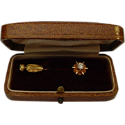 Antique 14 Karat  .25 Carat 4mm Diamond Stick Pin