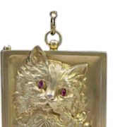 SALE Grandest Antique Sterling Cat Purse Ruby Eyes