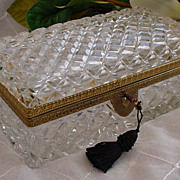 SALE Grandest Antique  Cut Crystal Glove Box