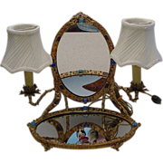 Rarest 1900/ 1910 Austrian Jeweled Vanity w Twin Lamps