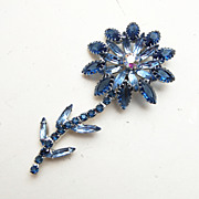 SALE Blue Flower Rhinestone Brooch