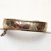 Bliss Brothers Gold Filled & Taille De'Epergne Hinged Bangle