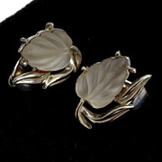 SALE Coro Molded Glass Glowing Leaf Earrings
