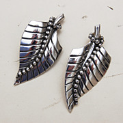 SALE Whiting and Davis Silver Tone Beaded Leaf Earrings