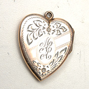 "SALE Gold Filled Locket Etched ""MAA"" - Great Condition"
