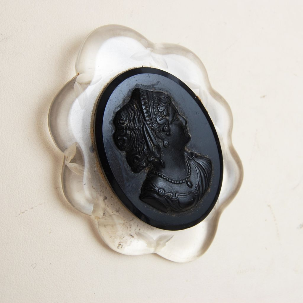 Reverse Carved Lucite and Black Celluloid Cameo Brooch