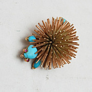 SALE 14kt Gold Figural Porcupine With Turquoise and Ruby Eyes